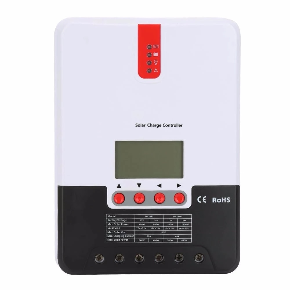 30/40A 12 فولت 24 فولت السيارات MPPT الشمسية جهاز التحكم في الشحن مع شاشة الكريستال السائل ML2430 ML2440 للبطاريات الشمسية PV منظم شاحن