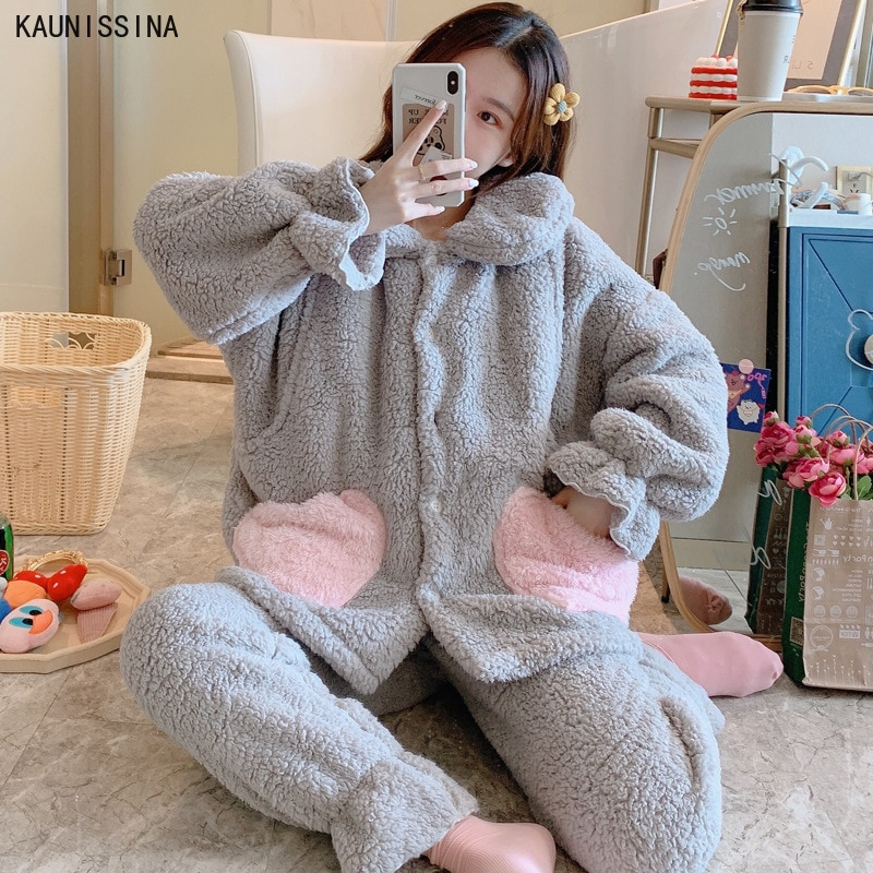 Pijama de mujer de invierno, conjunto de franela de terciopelo para embarazadas, ropa de casa gruesa, pijama con cuello vuelto con bolsillo y manga larga, ropa de dormir