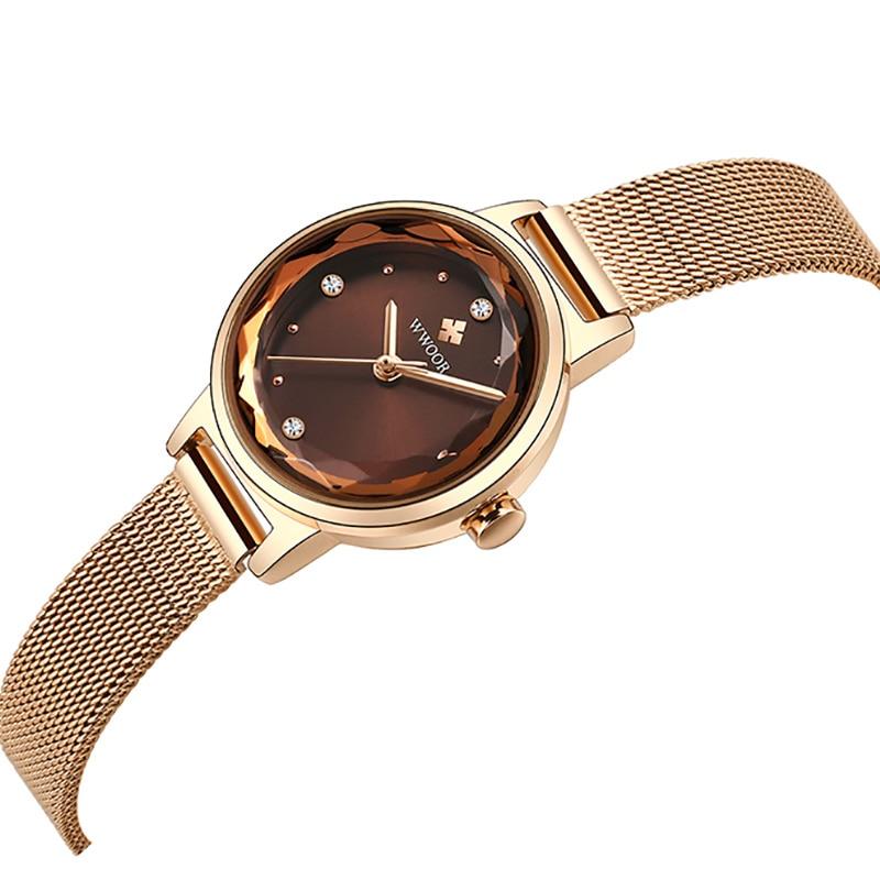 Rose Gold Stainless Steel Women Watch 2021WWOOR Diamond Ladies Gift Waterproof Simple Fashion Female Quartz Watches Montre Femme enlarge