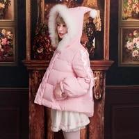 winter princess sweet lolita coat thicken keep warm gothic lolita overcoat cute fur collar witch hat pockets kawaii down jacket