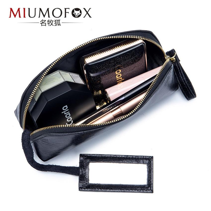 Bolso de viaje para cosméticos de cuero auténtico, bolsos de maquillaje para mujeres, bolsas organizadoras, bolso de maquillaje para mujeres, neceser para señoras, bolso Clutch Beauty Box