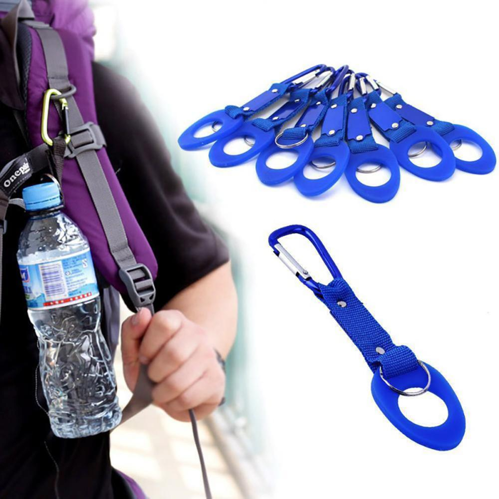 Hebilla de botella de agua de silicona portátil soporte de Clip conveniente d-ring gancho para botella al aire libre