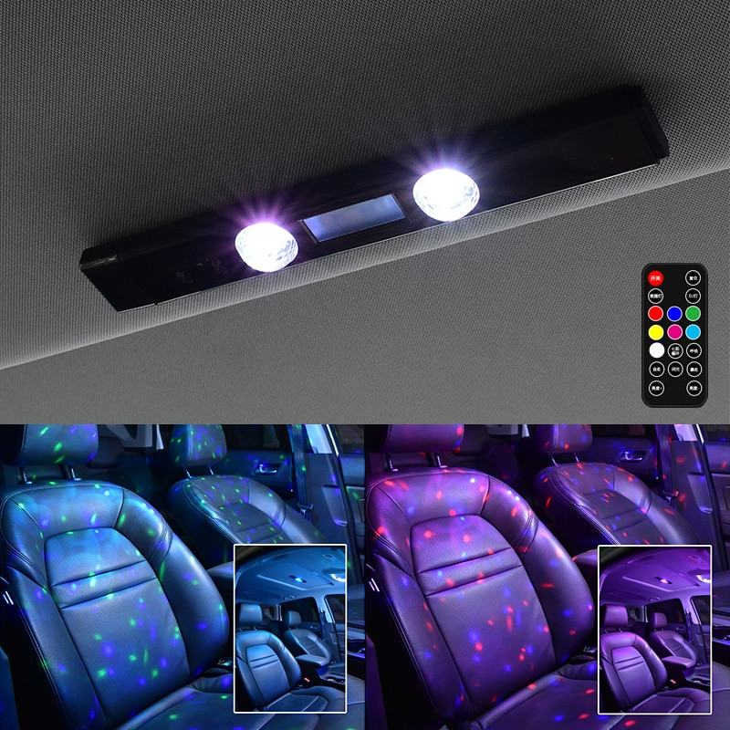 Car Atmosphere Lights 5 Modes Ambient Lamp with Remote Multi-color Portable Decorative Light for Auto Home USB Rechargeable