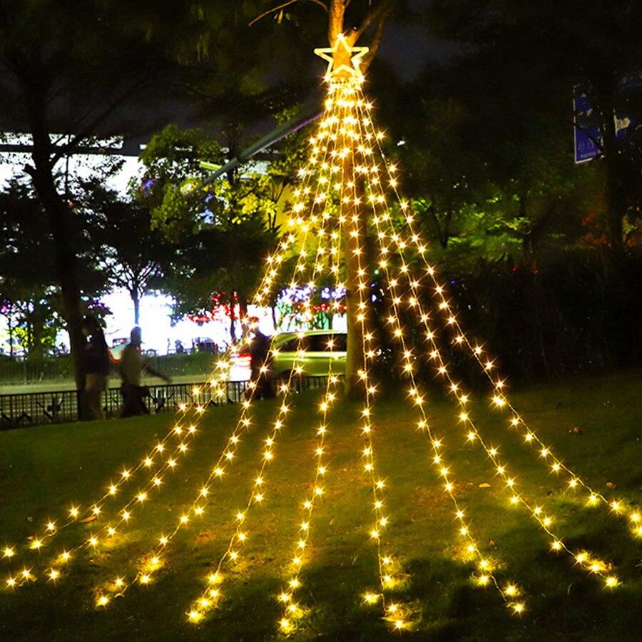 Thrisdar شلال عيد الميلاد سلسلة أضواء مع 317 LED ستار معلقة وميض الجنية ستار مصابيح للديكور في الهواء الطلق حفل زفاف