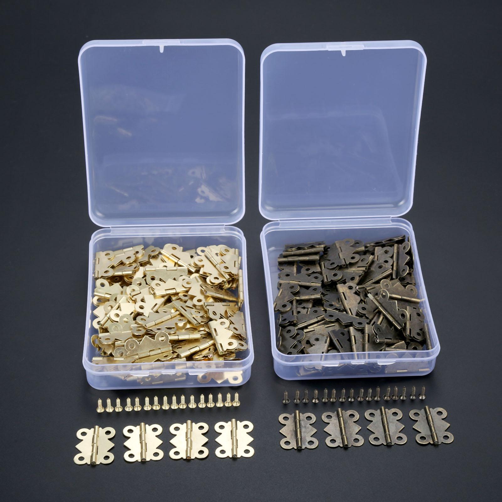 DRELD 100 Uds 25x20mm Mini bisagra de puerta de mariposa caja de joyería decorativa bisagra de herraje para muebles + tornillos + caja de almacenamiento