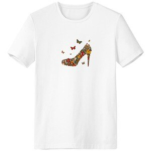 Butterfly and High Heel Shoes Crew-Neck White T-shirt Spring Summer Tagless Comfort Sports T-shirts Gift