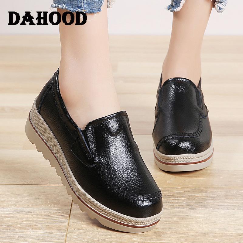 DAHOOD zapatos de plataforma para mujeres primavera otoño Casual señoras zapatillas sólidas Slip On suave plano mujer mocasines de talla grande 35-43