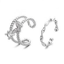 Todorova mujer mariposa de plata pendientes para las mujeres CZ Zircon falso Piercing niña pequeña Clip oreja brazalete coreano joyas Earcuff