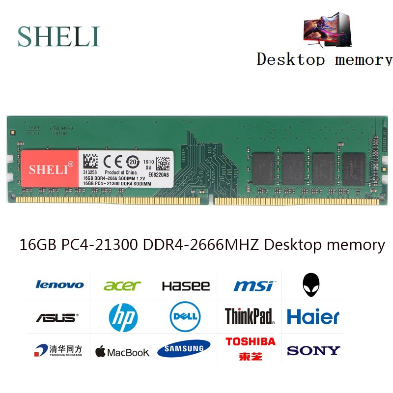 SHILI 16GB PC4-21300 DDR4 2666MHz 288pin 1,2 V UDIMM escritorio memoria de baja densidad