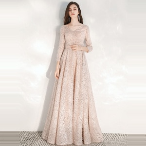Evening Dresses Elegant Pink Sequins Evening Dress Long Plus Size Formal Gowns Shining robe de soiree