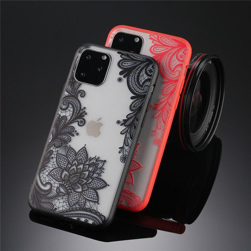 Ipwsoo sexy floral caso de telefone para apple iphone 7 8 6s se mais laço flor dura acrílico caso para iphone x xr xs max capa traseira