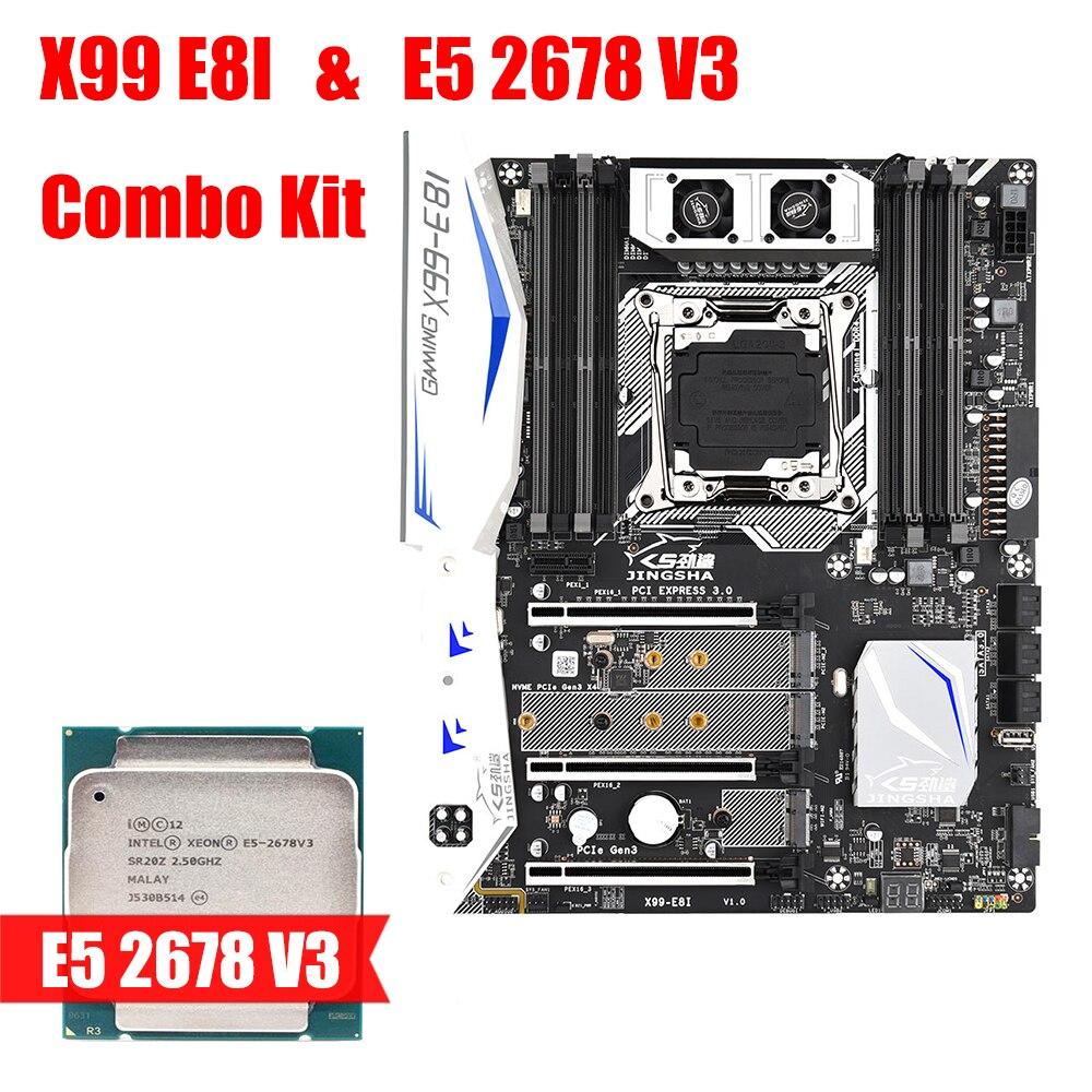 X99 E8I اللوحة و E5 2678 V3 مجموعة أدوات دعم إنتل سيون E5 LGA2011-V3/V4 DDR4 ECC REG ذاكرة NVME USB3.0