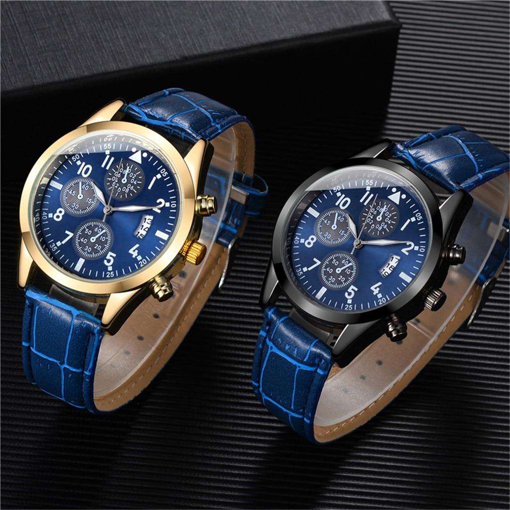 Популярные мужские кварцевые наручные часы с кожаным ремешком, мужские наручные часы с датой и днем, стильные роскошные мужские часы