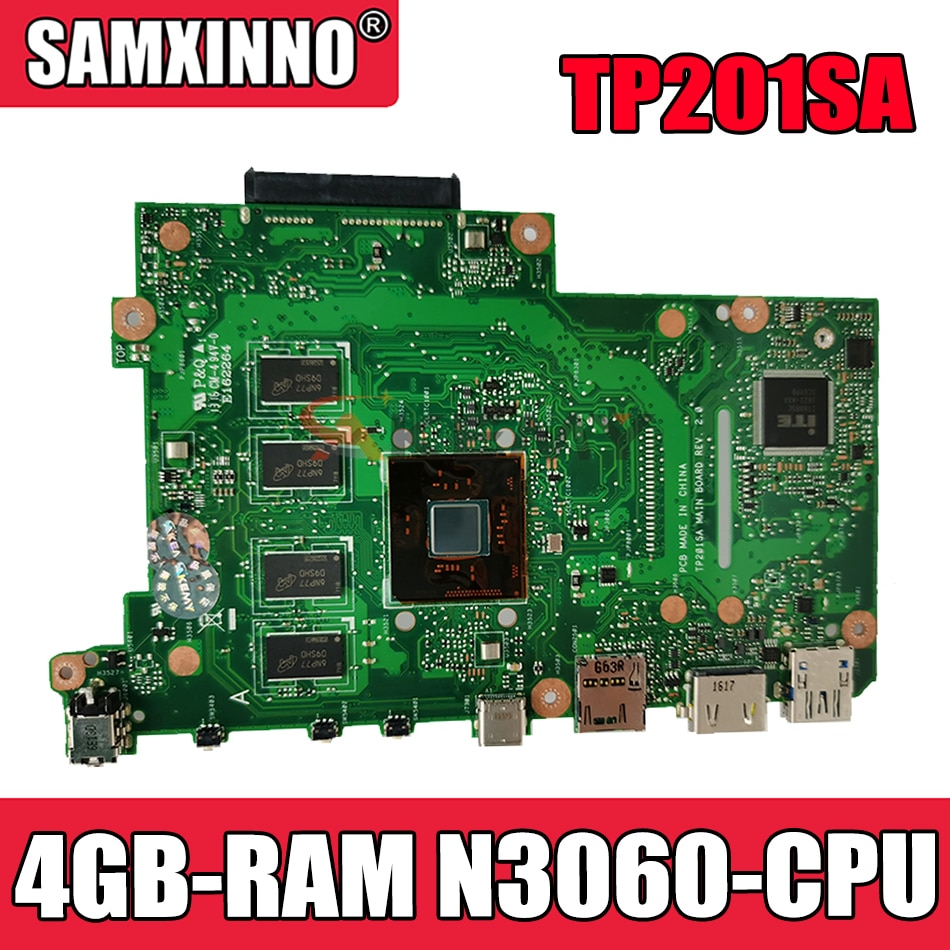 Akemy TP201SA اللوحة الأم لأجهزة الكمبيوتر المحمول ASUS TP201SA اللوحة الرئيسية الأصلية 4GB-RAM N3060-CPU
