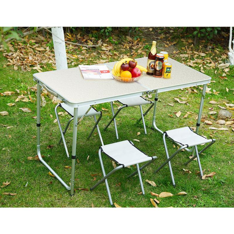 Aluminum Alloy Foldable Table And Chair Set Portable Outdoor Camping Office Furniture Adjustable Height HWC