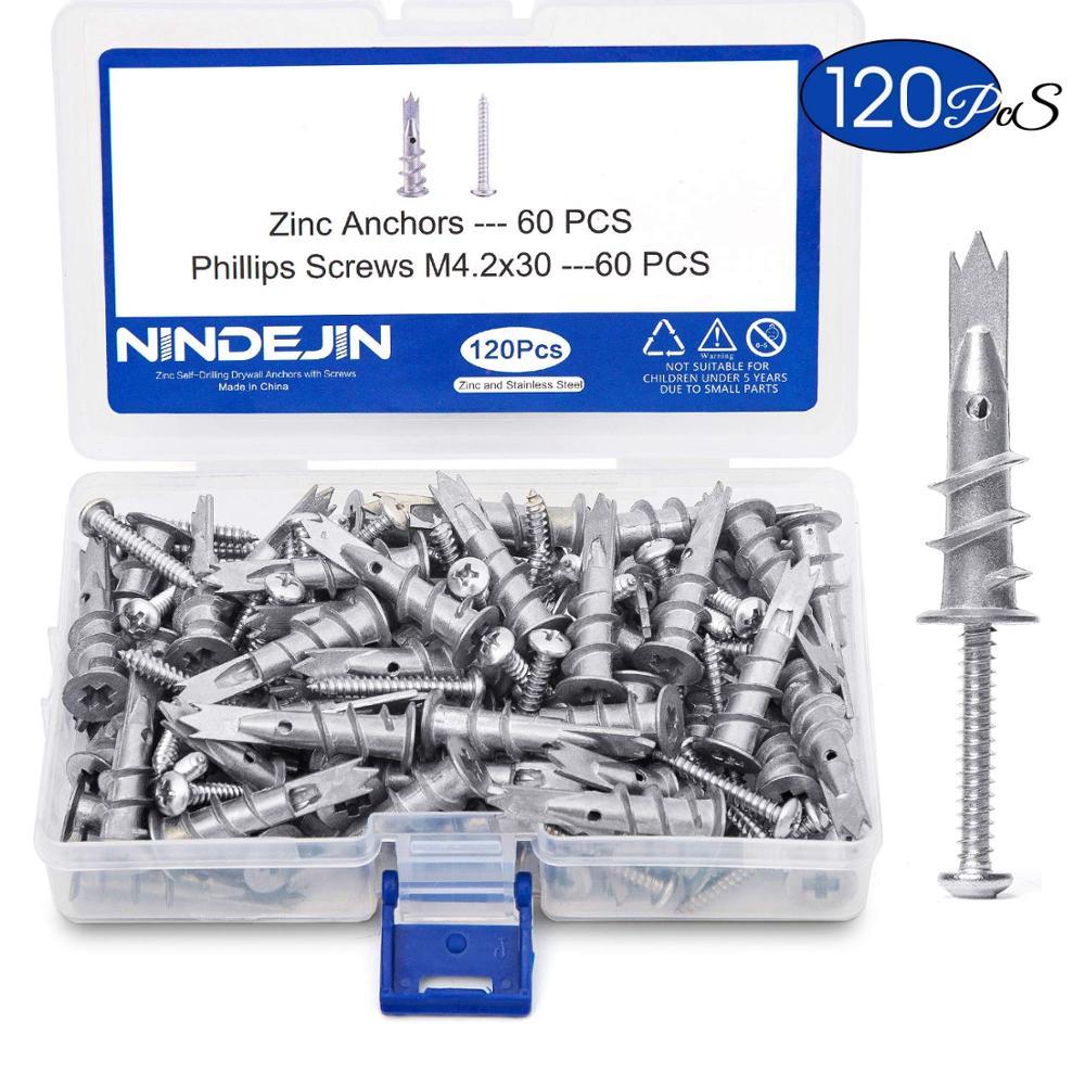 NINDEJIN 120pcs/set Screws Zinc Alloy Self Drilling Board Drywall Hollow-wall Anchors M4.2 Tapping Screw Kit With Storage Box