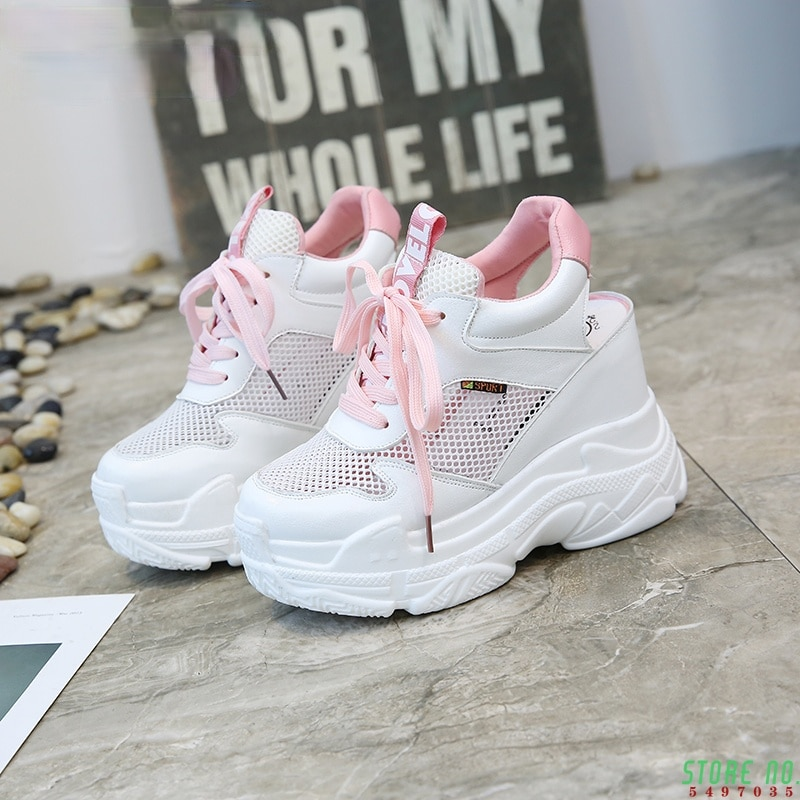 Casual Shoes Women's Flats Shoes Mesh Breathable Platform Wedge Heels Shoes 10cm Summer Sneakers Zapatillas Deportivas Mujer