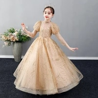 elegant puff sleeves flower girl dress sequined beadings princess dress turtleneck ball gown for wedding birthday party