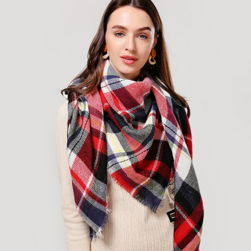 Designer 2020 knitted spring winter women scarf plaid warm cashmere scarves shawls luxury brand neck bandana  pashmina lady wrap
