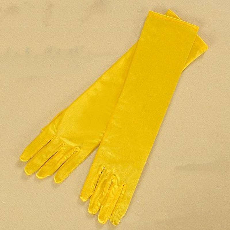 Guantes azules grises oro amarillo rosa para fiesta de graduación un tamaño de moda estiramiento de satén codo dedo mujeres Guantes ST017