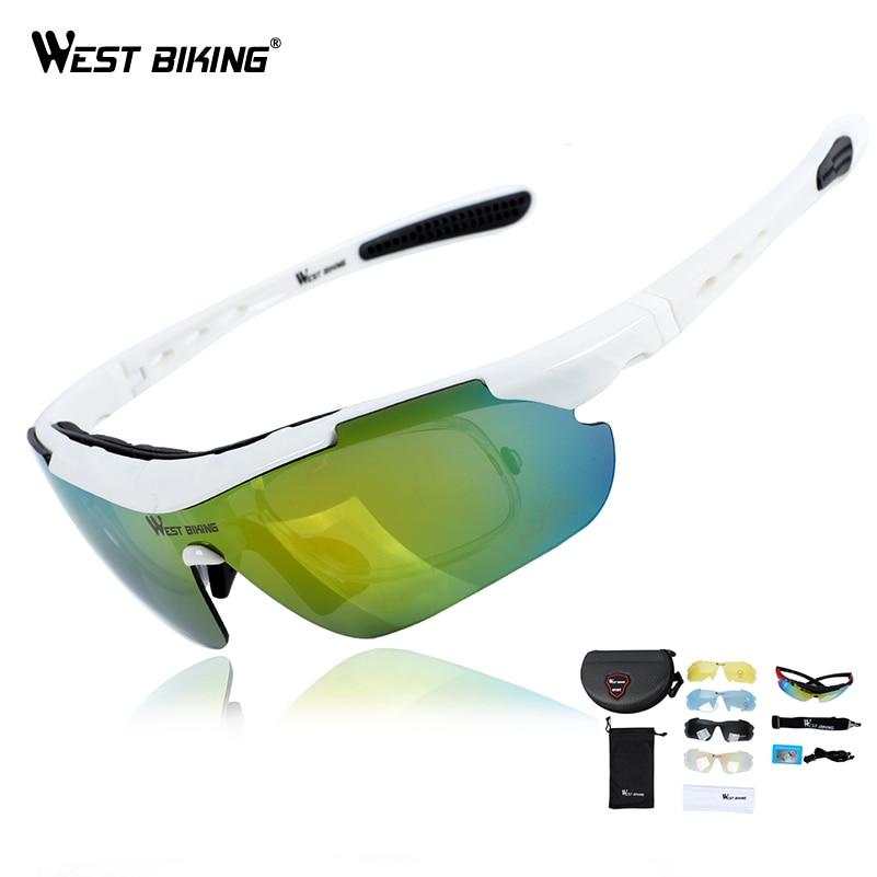 WEST BIKING Cycling Glasses Polarized Glasses 5 lens Outdoor Bicycle Sunglasses MTB Road Bike Ciclismo Men Women Cycling Eyewear