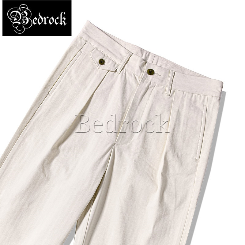 High waist overalls loose straight wide leg pants vintage white governor uniform trousers HBT fabric pleated cargo pants