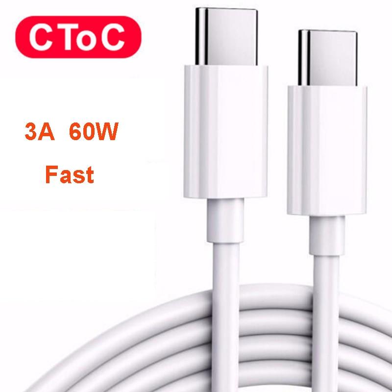 Cable USB tipo C a tipo C de carga rápida, 60W, 3A,...