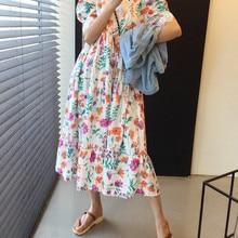 CMAZ 2021 Summer Long Dress Floral Print Boho Korea Style Cotton Beach Ruffles Wrap Casual O-Neck Pa