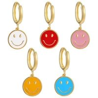 fashion korean gold white pink enamel smile drop earring cute coin round earrings for women party jewelry gift accessories