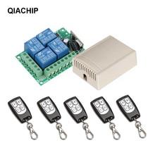 QIACHIP 433 Mhz Control remoto inalámbrico Universal interruptor DC 12V 4 CH módulo receptor de relé de RF + remoto RF 433 Mhz Diy
