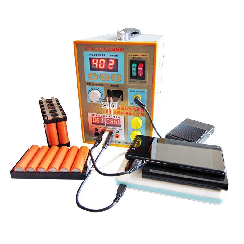 SUNKKO 788H USB Battery Spot Welder USB Charge Test LED Lighting 220V 110V Spot Welding Machine 18650 Battery Test Spot Welding