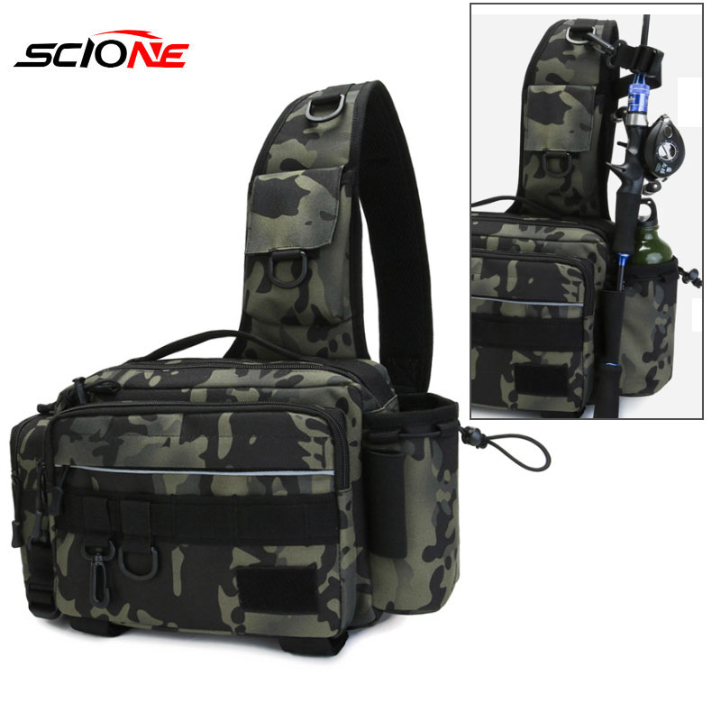 Fishing Tackle Bag Single Shoulder Crossbody Bags Waist Pack Fish Lures Gear Utility Storage Fishing Box Bag Tactical Bag XA232G