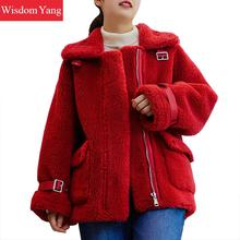 Winter Fur Coat Women Warm Woollen Sheep Korean Wool Coats Jackets Loose Casual Pink Blue Red Yellow Overcoat Outerwear Clothes