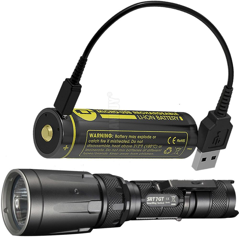 2020 NITECORE 5 Color SRT7GT + batería recargable USB 1000 Lumen anillo inteligente linterna impermeable linterna de luz UV envío gratis