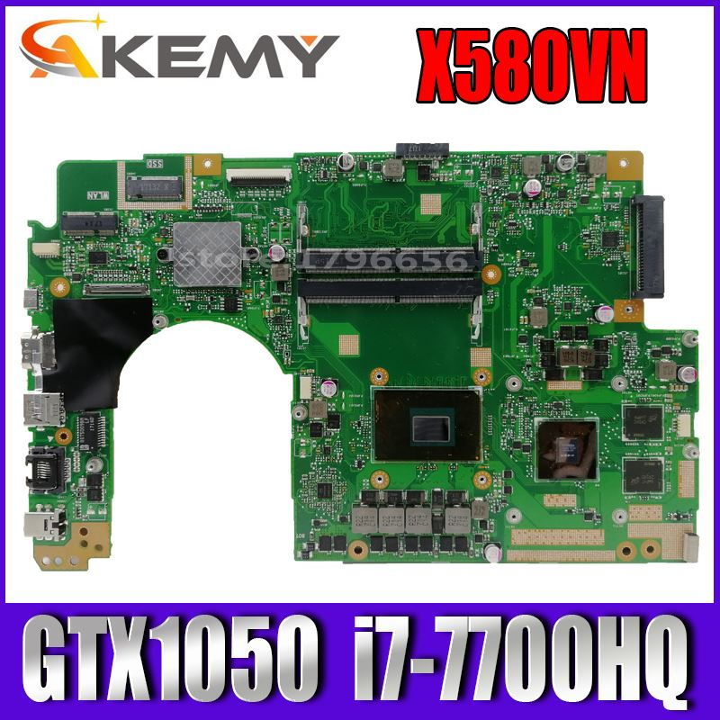 Akemy x580 vn اللوحة الأم لأجهزة الكمبيوتر المحمول ASUS x580 vn x580 v اللوحة الرئيسية الأصلية I7-7700HQ GTX1050-4GB