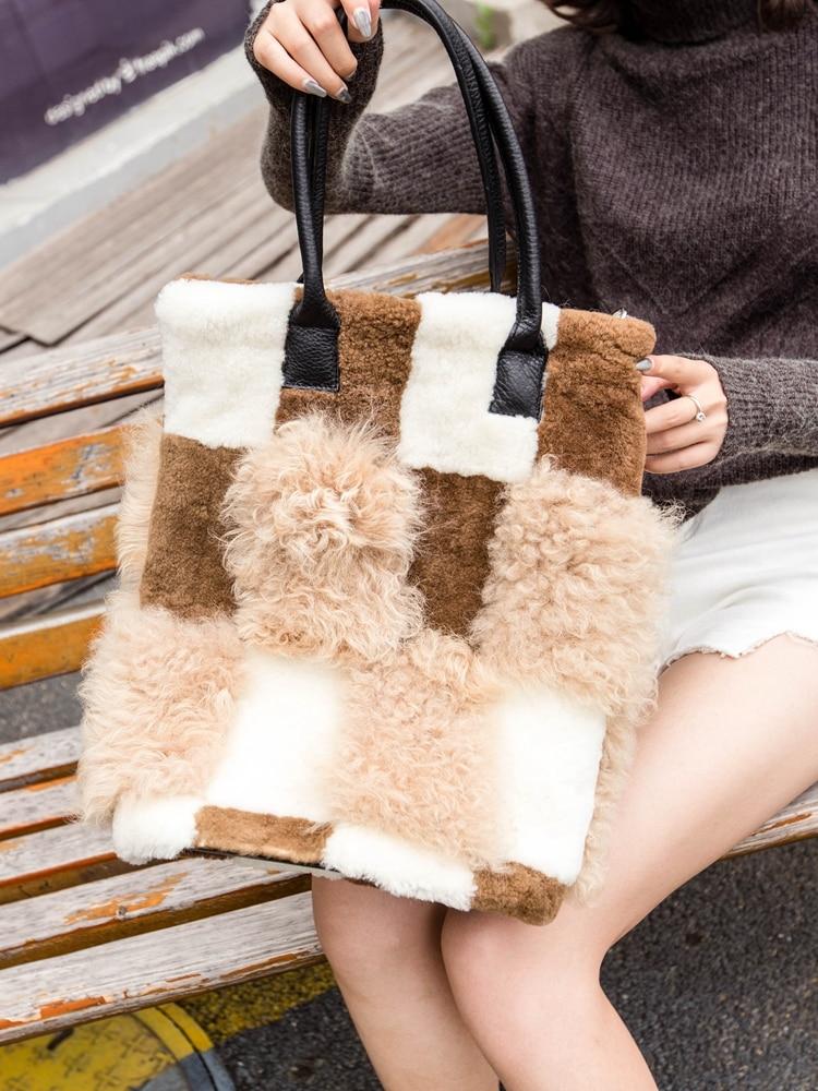 Real wool bag Australian beach wool fur shoulder bag wool ladies handbag large capacity fashion luxu