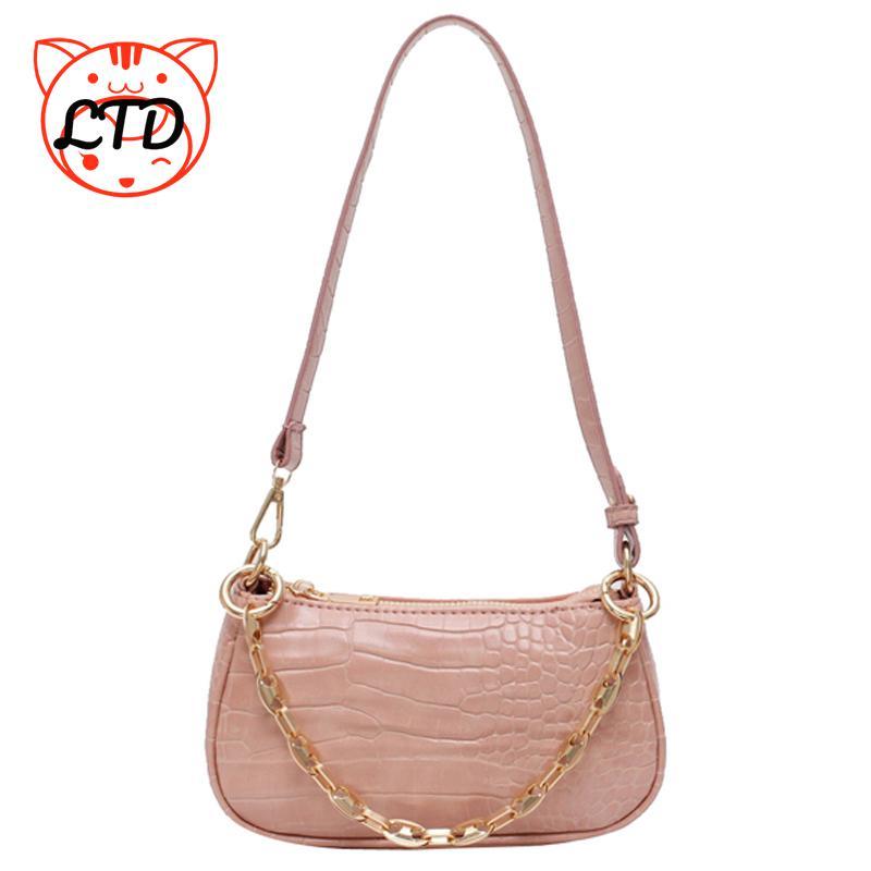 2021 New Fashion Crocodile Pattern Baguette bags MINI PU Leather Shoulder Bags For Women Chain Desig