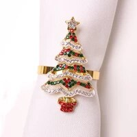 12pcs christmas napkin rings holders hand painted diamond studded xmas table decor for home decoration wedding banquet events