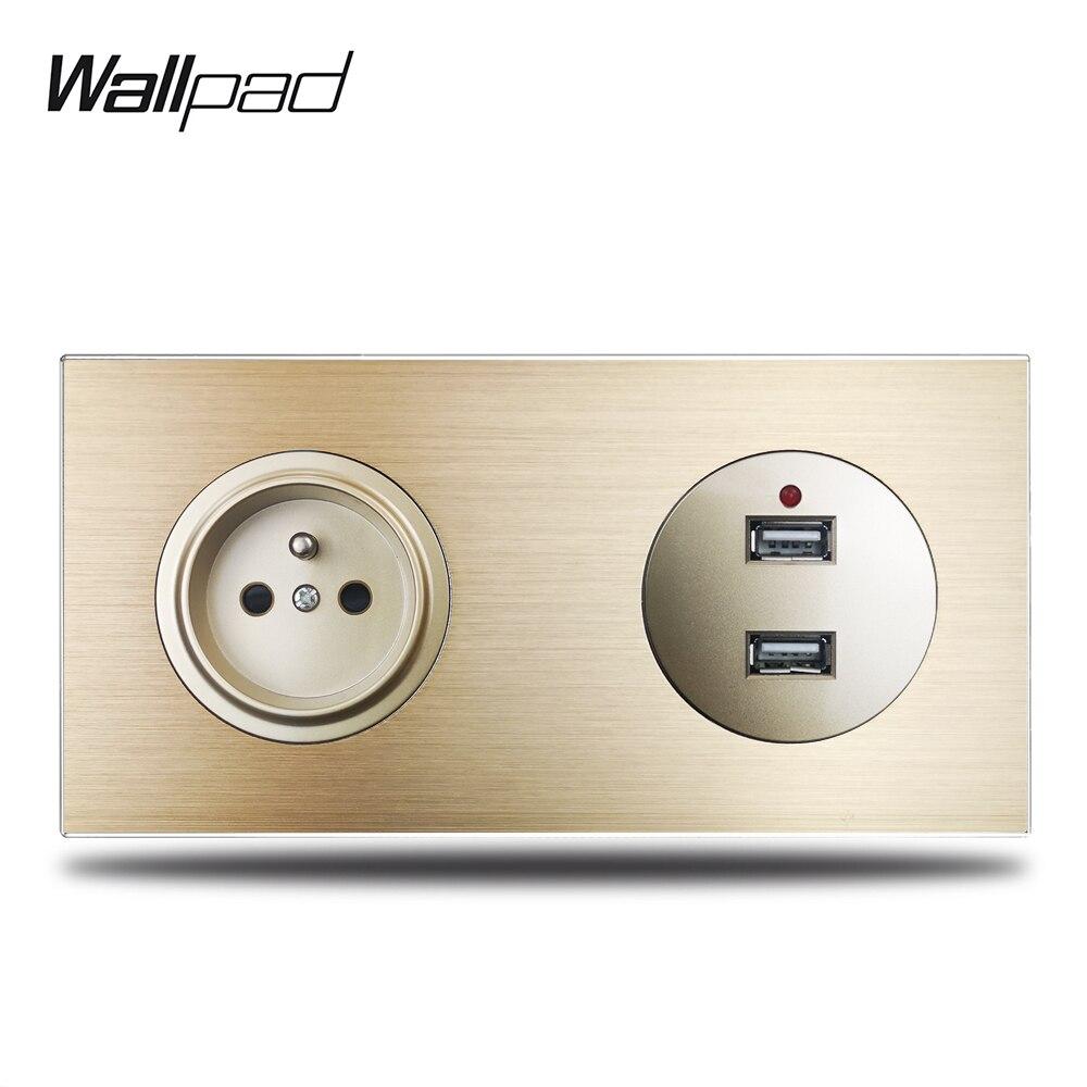 Wallpad-مقبس حائط L6 ، منفذ شحن USB ، لوح معدني من الألومنيوم المصقول ، ذهبي ، 172 × 86 مللي متر ، فرنسي