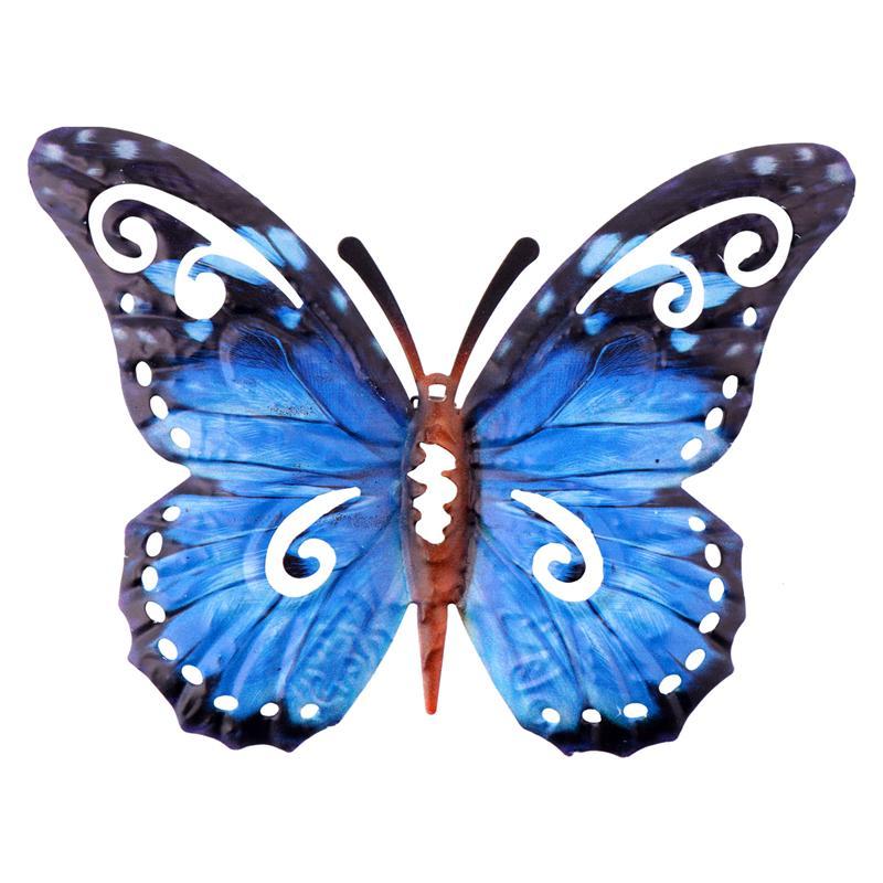 1 pc borboleta vívida lifelike decorativo elegante pendurado ornamentos decoração da parede de borboleta de metal para a decoração do jardim