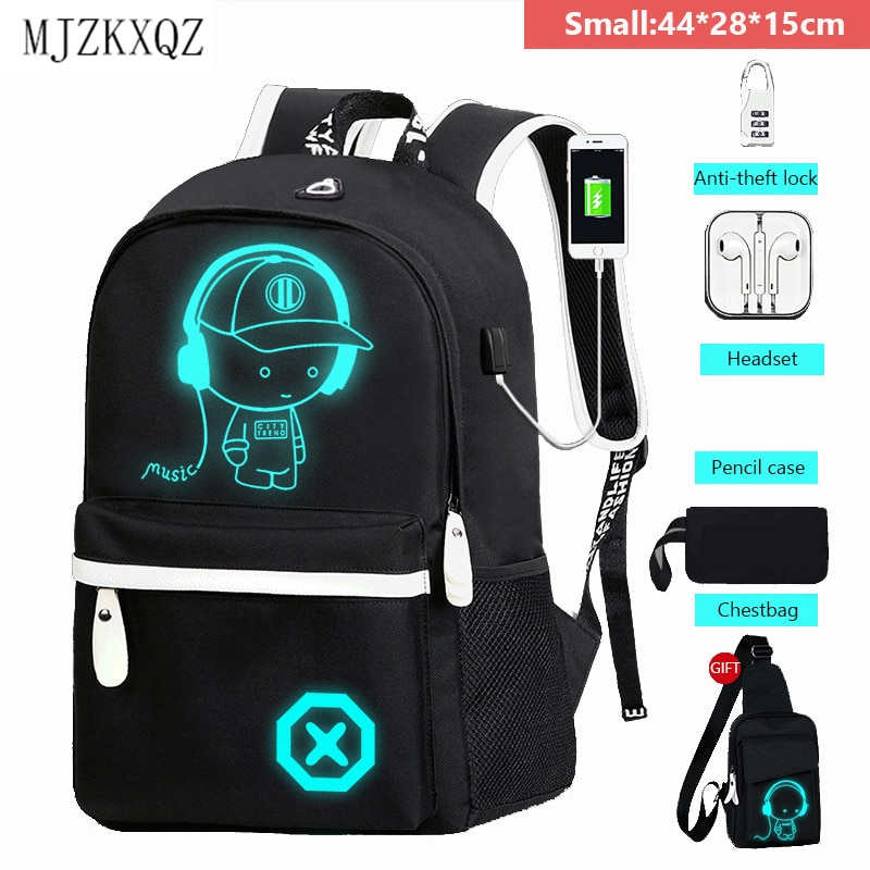 Mjzkxqz Student School Backpack Luminous USB Charge School Bag For Teenager Boy Anti-Theft Children's Schoolbags Laptop Backpack