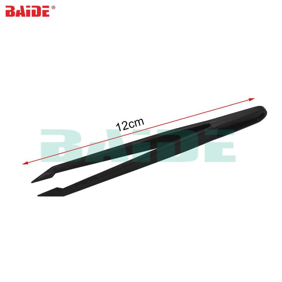 12cm Black Plastic Tweezers Tongs Straight Head Tweezer Bent TWES DIY Tool for Phone Repair 500pcs/lot