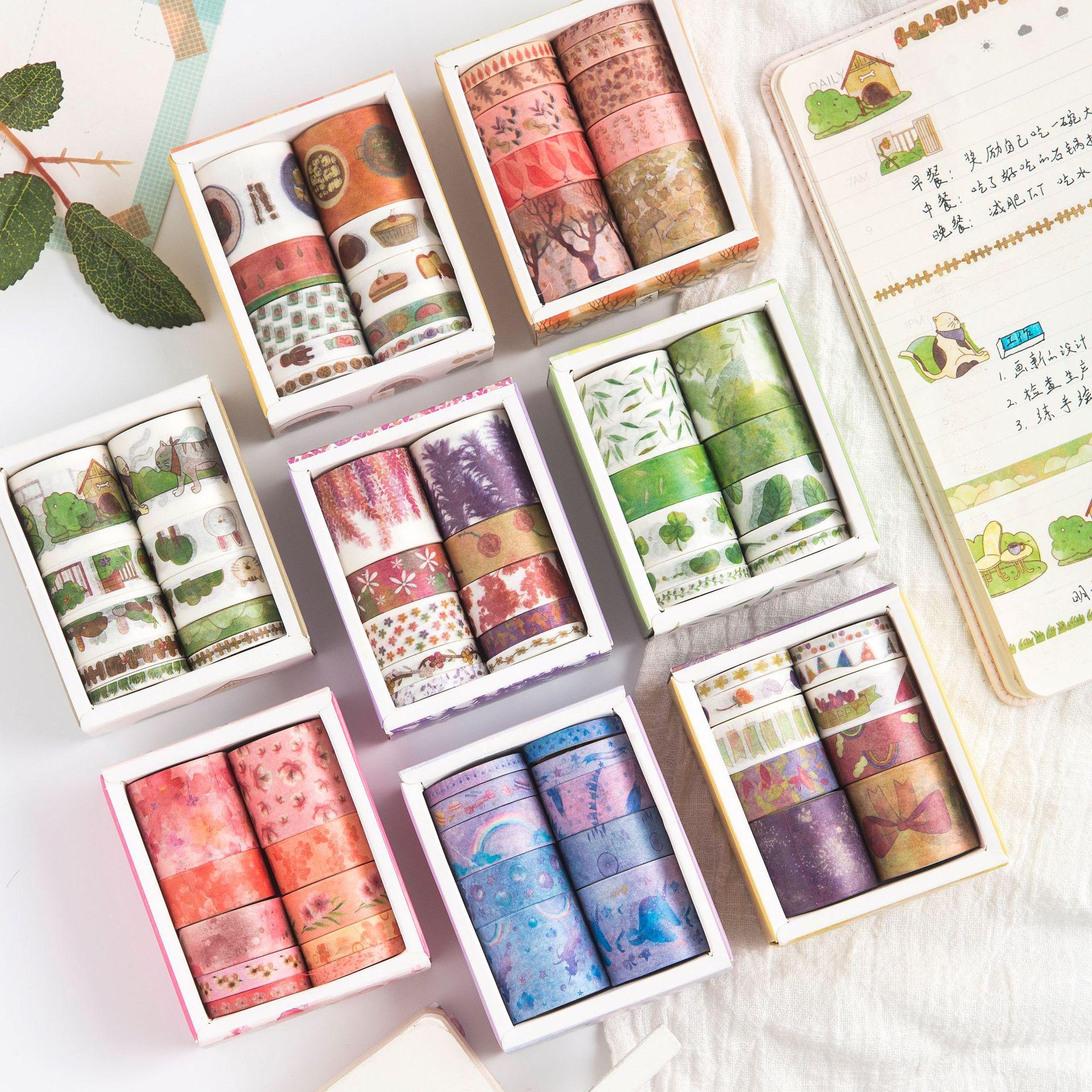 10 pçs/lote Girlish Séries Coração Floral Bonito Conjunto Japonês Washi Papel Masking Tape Papelaria Kawaii Fontes Scrapbooking Adesivo