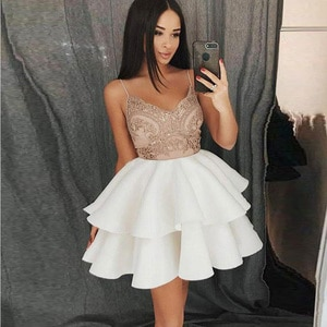 Sexy Fashion Cocktail Dresses Spaghetti Strap Sleeveless Lace Satin Ruffles Ball Gown Women Short Party Dress Homecoming Gowns