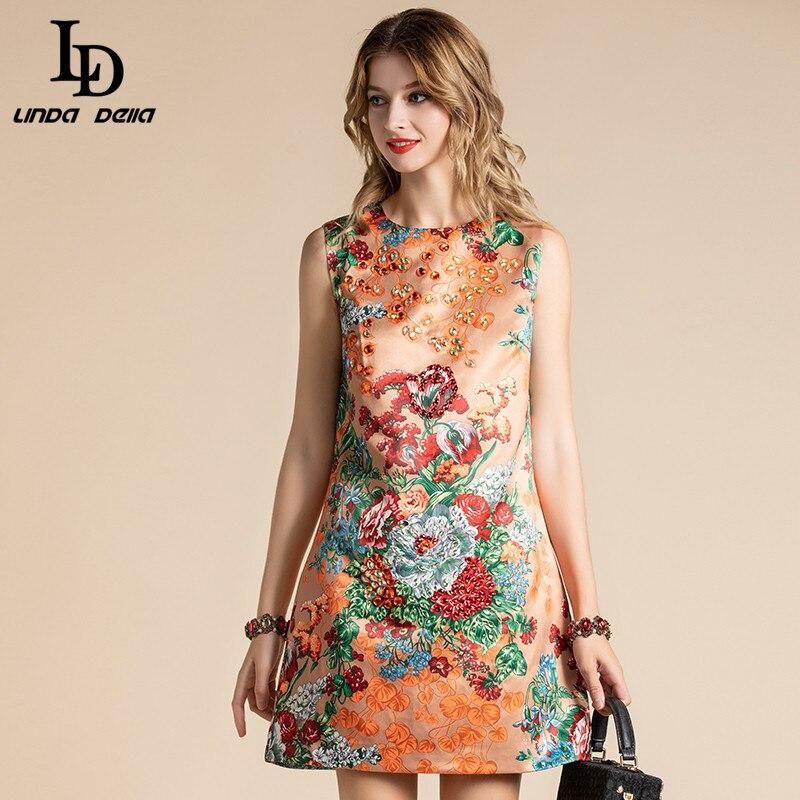 LD LINDA DELLA Mode Designer Sommer Kleid frauen Ärmellose Elegante Floral Print Kristall Perlen A-linie Short Kleid vestido