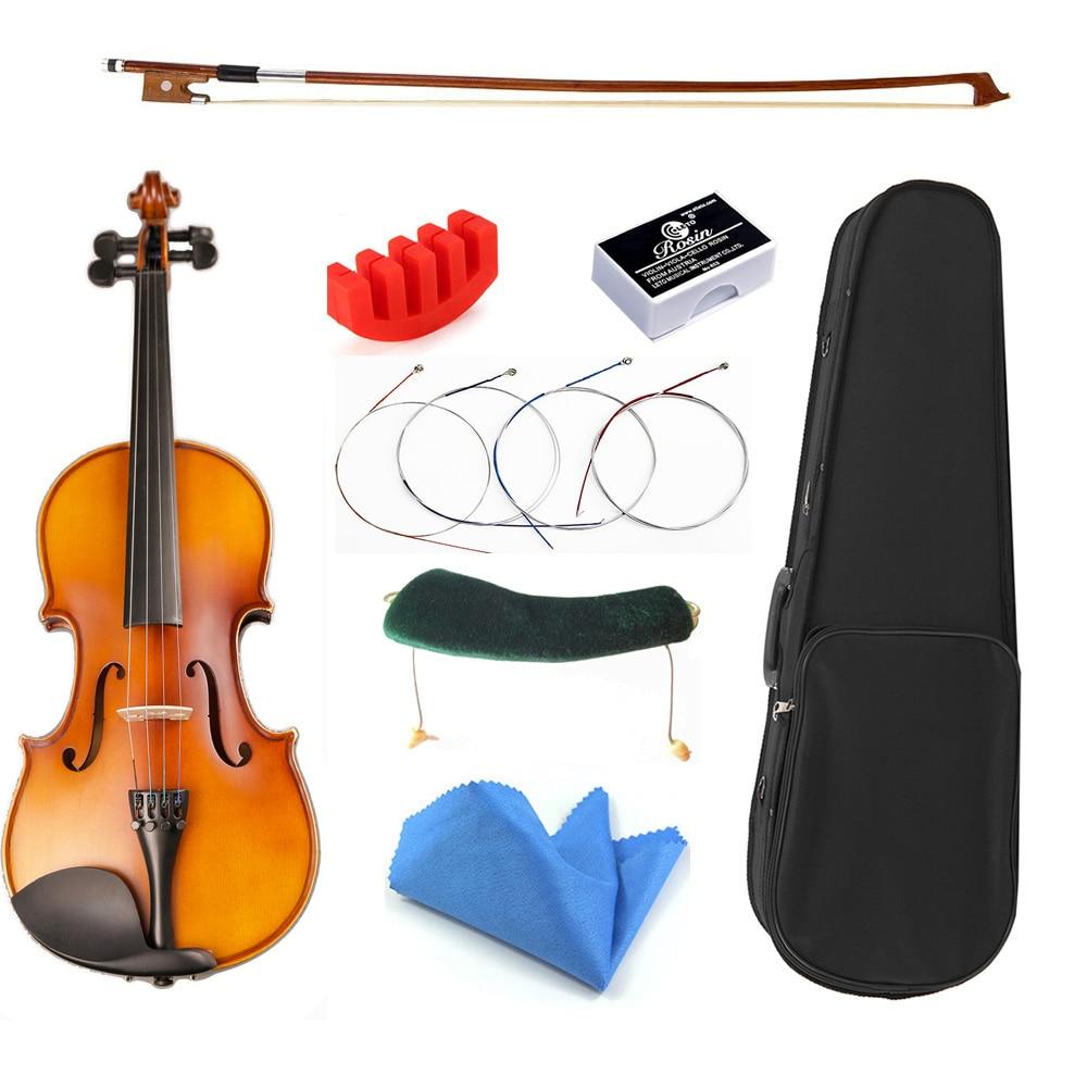 Tongling maple matte violino 1/2 1/8 violino iniciante instrumento musical com caso arco cordas conjunto completo acessórios