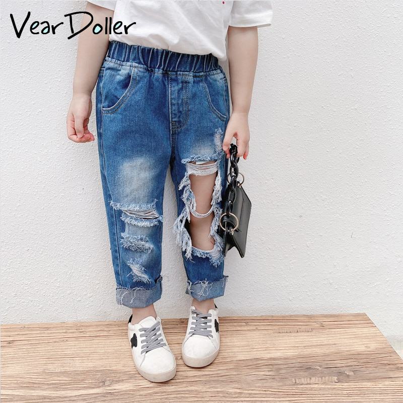 VearDoller Girls Jeans 2021 New Arrival Fashion  Holed Capris Spring Summer Children's Denim Pants Kids Ripped Jeans