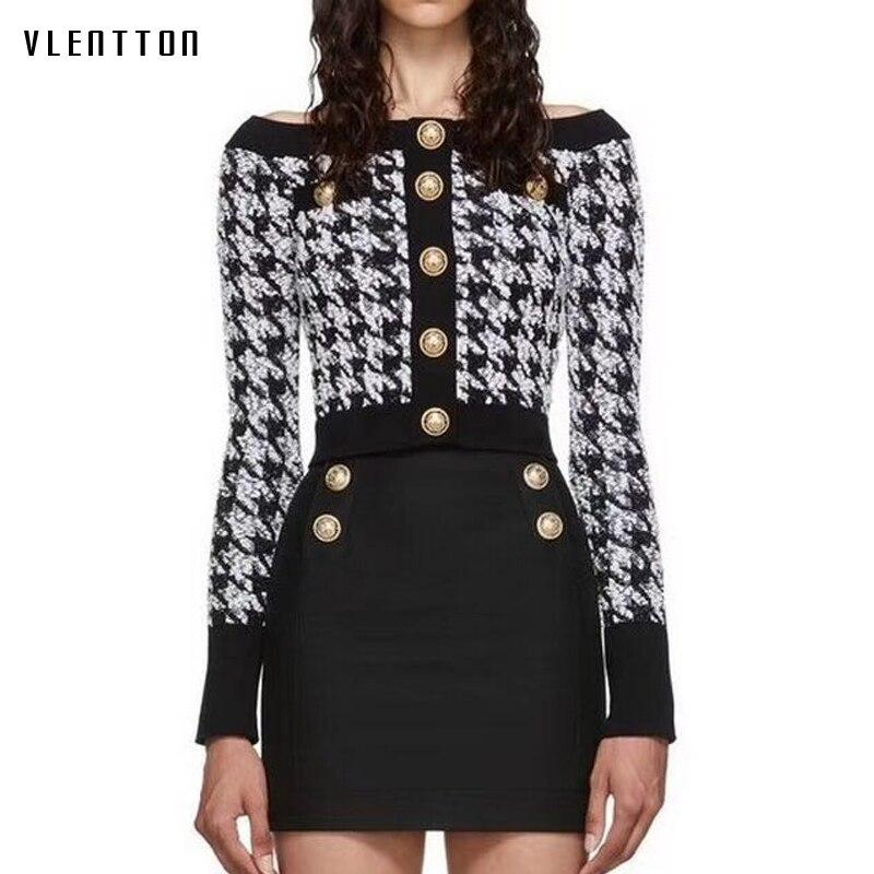 Autumn Winter Plaid Tweed Pullovers Sweater Women Metal Button Sexy Slash Neck Bright Silk Wool Short Tops Female Sueter Mujer