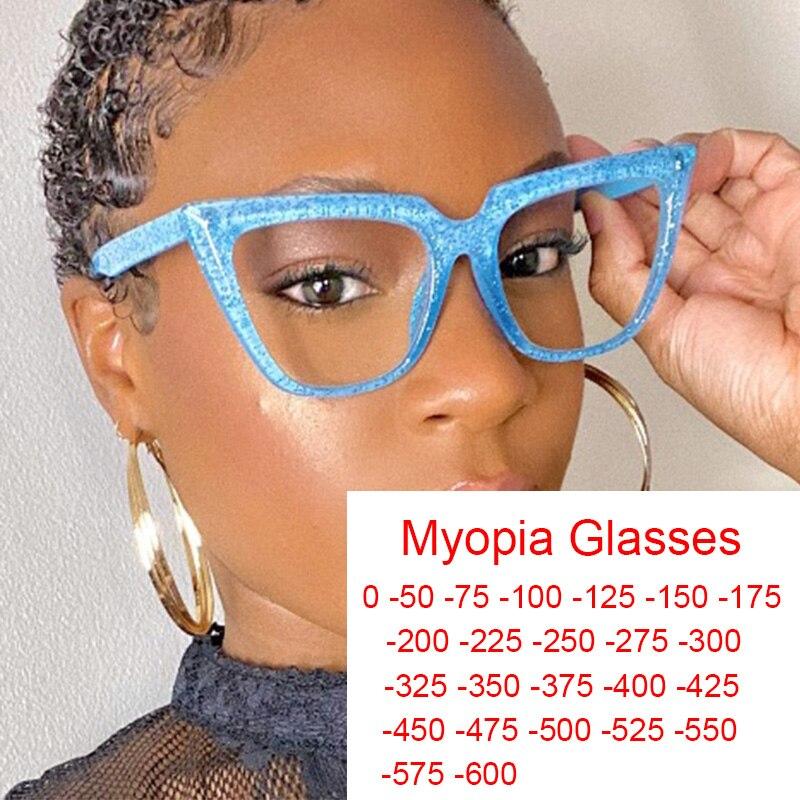 2021 na moda escritório anti azul luz computador óculos senhora miopia diopter 0 a 6 menos pontos óculos vintage quadro Óculos de leitura    -