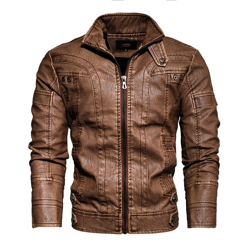 New Leather Motorcycle Jacket Men High Quality Artificial PU Casual Stand Collar Long Sleeve Jackets
